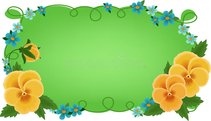 Banner or greetings card with pansies stock illustration