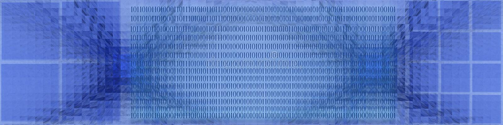 Banner Grid and binary. This blue banner had grid patterns and binary codes in the middle part. Can be used as a background too stock illustration