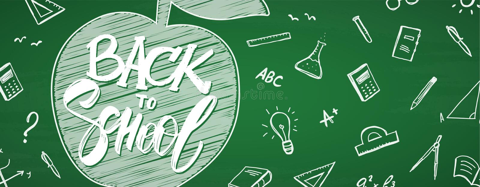 Banner with hand drawn lettering of Back to School, apple and doodles supplies on chalkboard background stock illustration