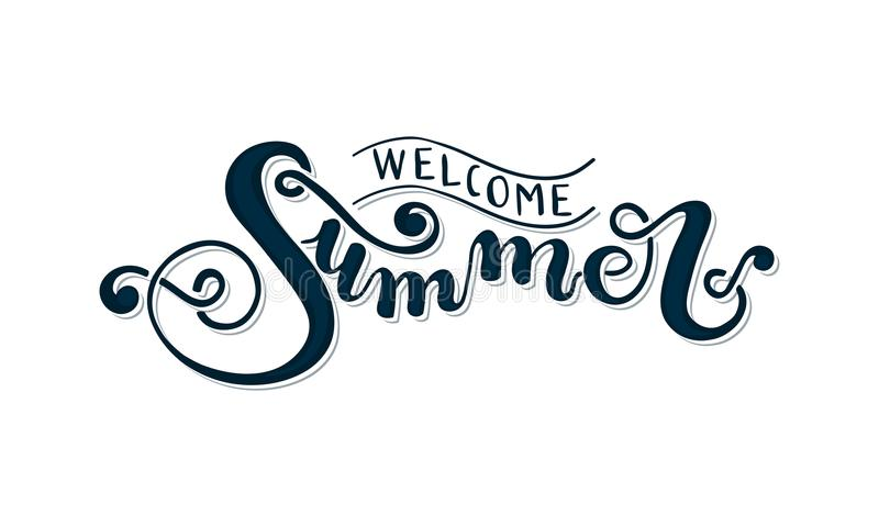 Download Welcome Summer Hand Lettering Stock Vector
