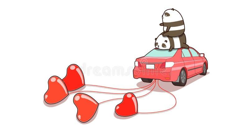 Banner handgezeichnete Pandas auf dem Auto, das die Herzen zieht lizenzfreie stockfotografie
