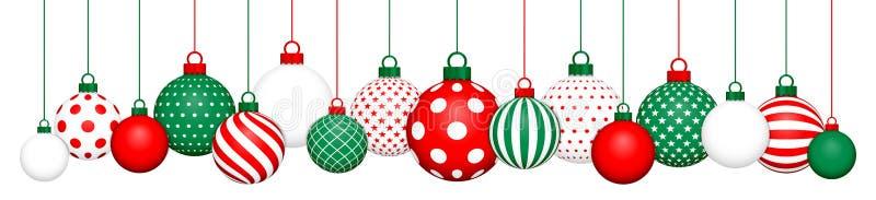 Banner Hanging Christmas Balls Pattern Red Green White stock illustration