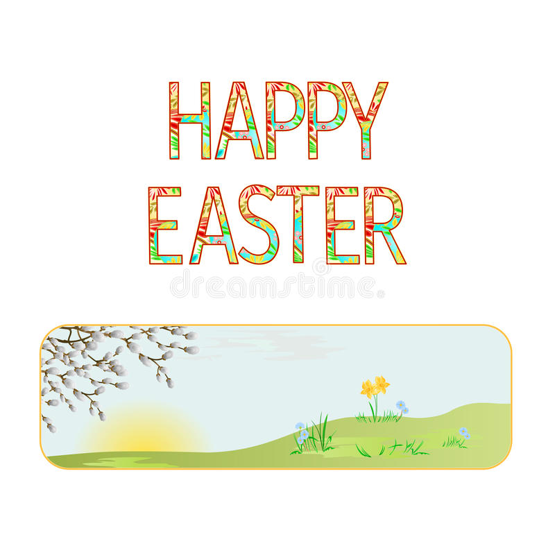 Banner Happy easter spring meadow with willow vintage vector stock illustration