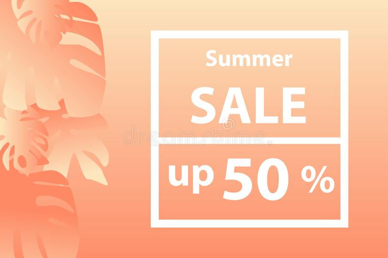 Banner, a hard  summer sale up 50 percents  in orange tones . Peach background. Tropical plants. royalty free illustration