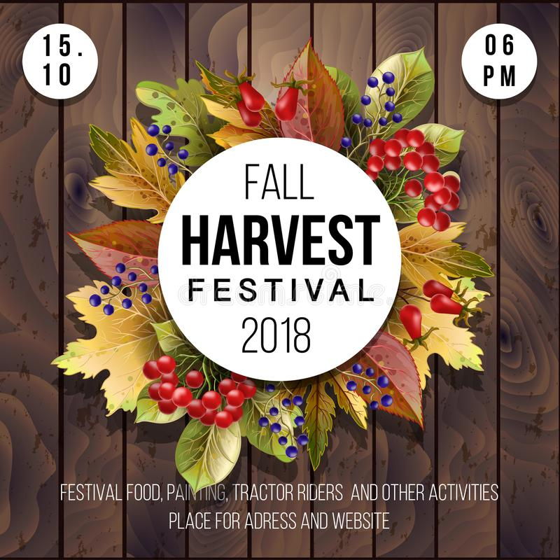 Banner for Harvest festival with autumn leaves on a wood background. Vector illustration royalty free illustration