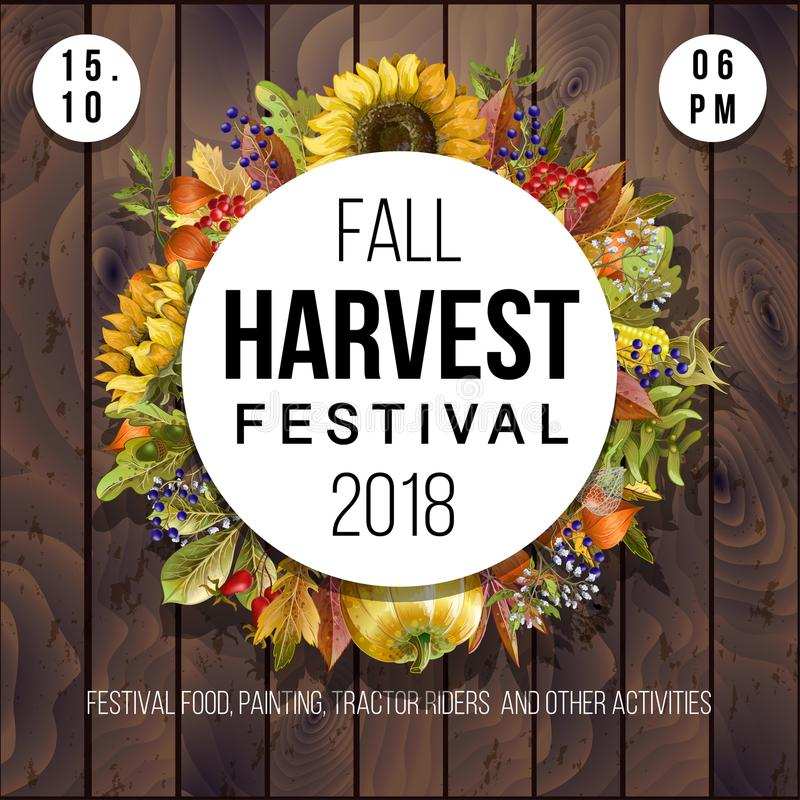 Banner for Harvest festival with leaves, herbs, vegetables, pumpkins and sunflowers on a wood background. Vector illustration stock photography