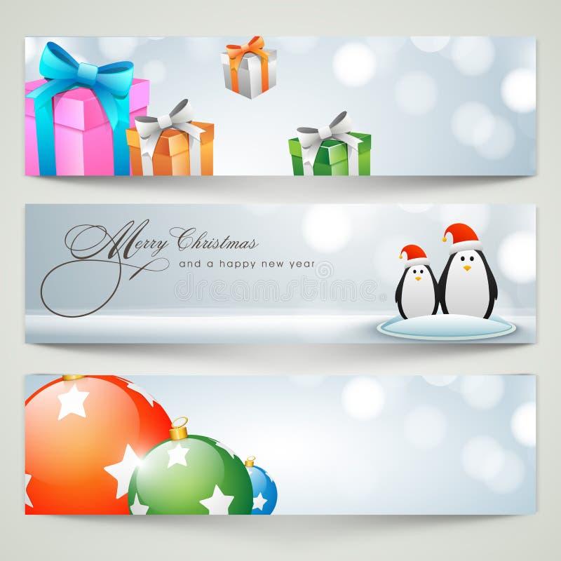Banner of het ontwerp van de Webkopbal voor Vrolijke Kerstmisviering royalty-vrije illustratie