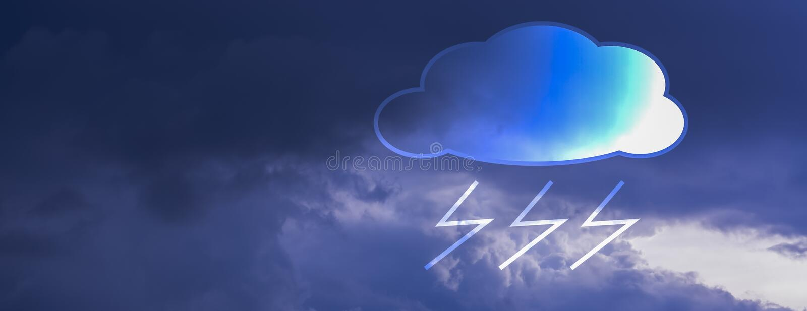 Banner horizontal rectangle Clouds are black in sky, while rain is falling, With icons rainand lightning symbols. With copy space. And put text and weather vector illustration