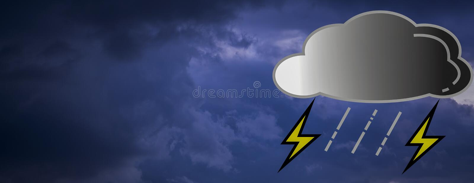 Banner horizontal rectangle Clouds are black in sky, while rain is falling, With icons rainand lightning symbols. With copy space. And put text and weather stock illustration