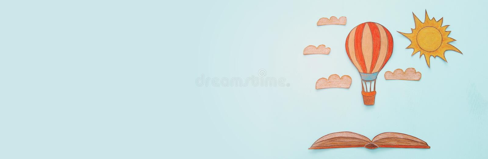 Banner of Hot air balloon, space elements shapes cut from paper and painted stock illustration
