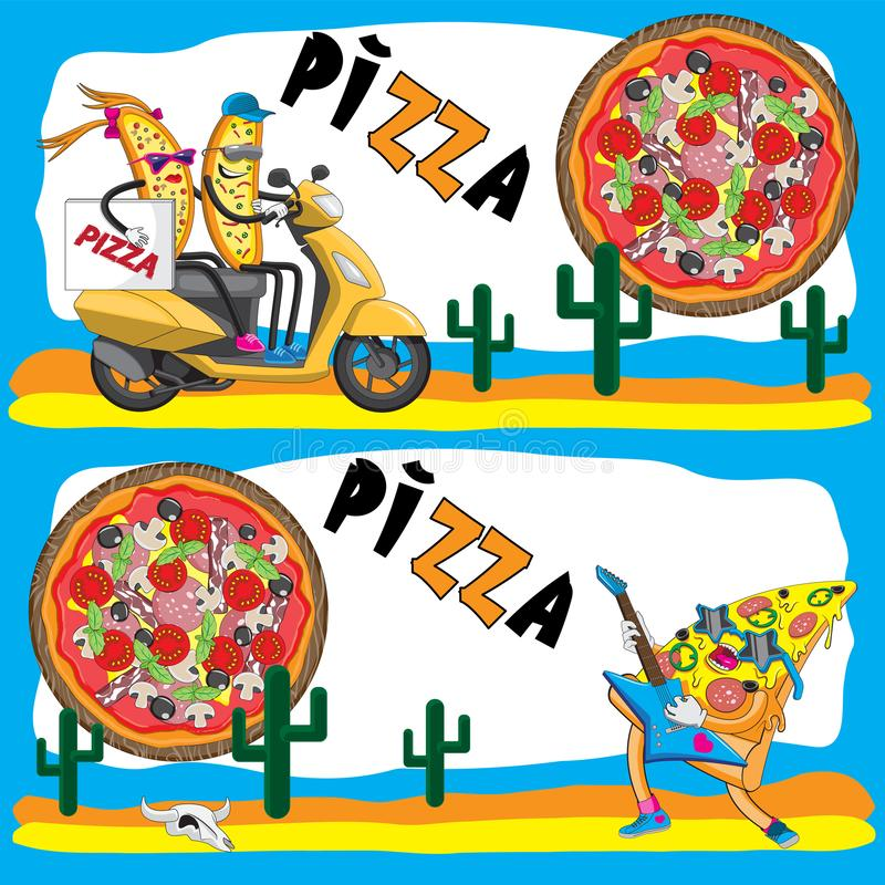 Banner illustration for the flyer. Pizza is the character of the cactus motor scooter guitar. Vector image. EPS 10 vector illustration