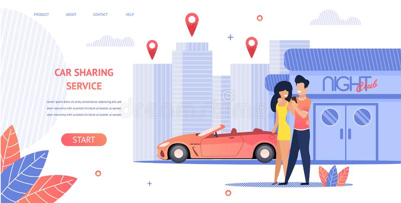 Banner Illustration Loving Couple Rent Cabrio Car royalty free illustration