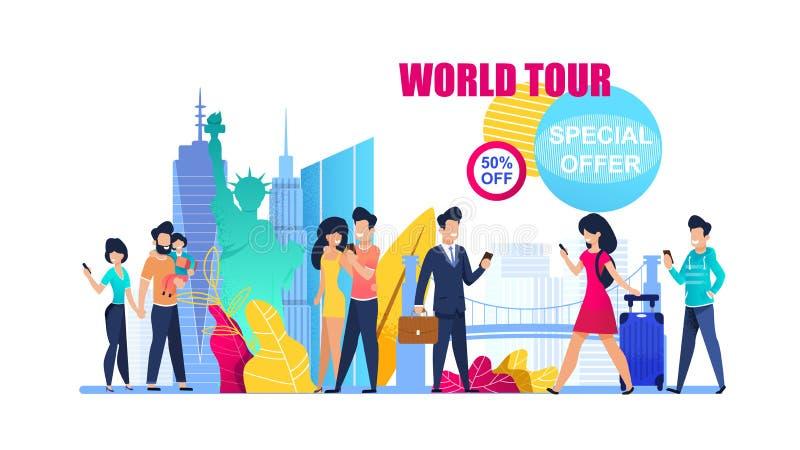 Banner Illustration Special Offer on World Tour vector illustration