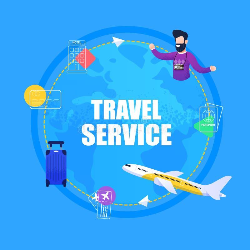 Banner Illustration Travel Service Ticket Booking stock illustration