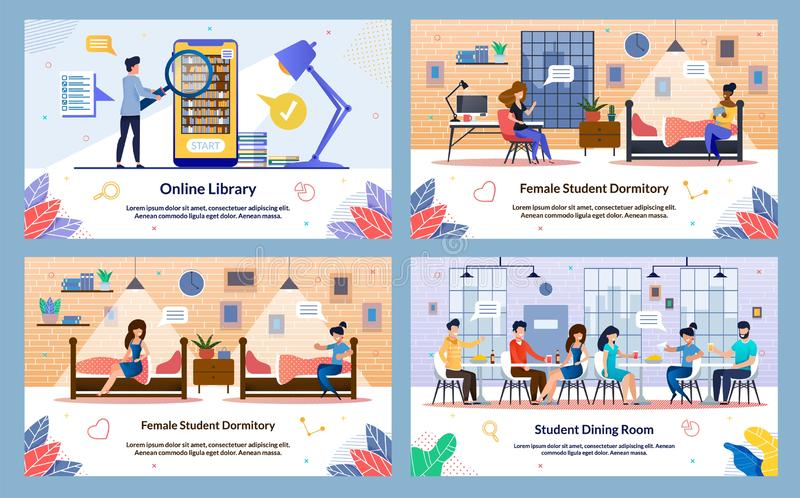Banner Inscriptie, Dining Room voor studenten, dia stock illustratie
