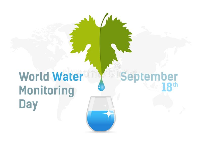 Banner International holiday, World Water Monitoring Day. The concept of clean water. Poster, postcard. Vector stock illustration