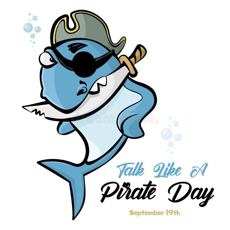 Banner International Talk Like Pirate Day Pirat rekina z nożem w zębach Wektor ilustracji