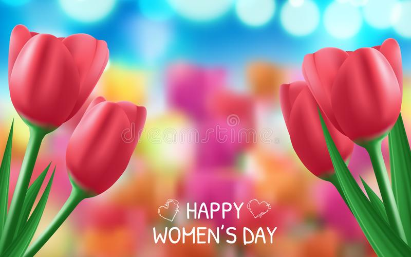 Banner for the International Women's Day. Flyer for March 8 with the decor of flowers. Vector illustration royalty free illustration