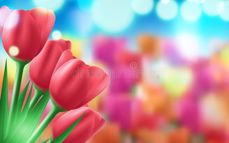 Banner for the International Women's Day. Flyer for March 8 with the decor of flowers. Vector illustration vector illustration