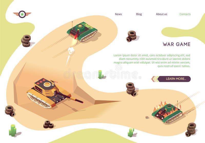 Banner isométrico del juego de la guerra de acción con batalla de tanques ilustración del vector