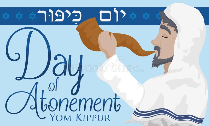 Jewish Senior Man Blowing a Shofar Horn in Yom Kippur, Vector Illustration. Banner with Jewish elder man wearing a tallit and blowing a Shofar horn to stock illustration