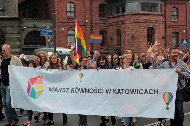 Banner on Katowice Pride royalty free stock photo