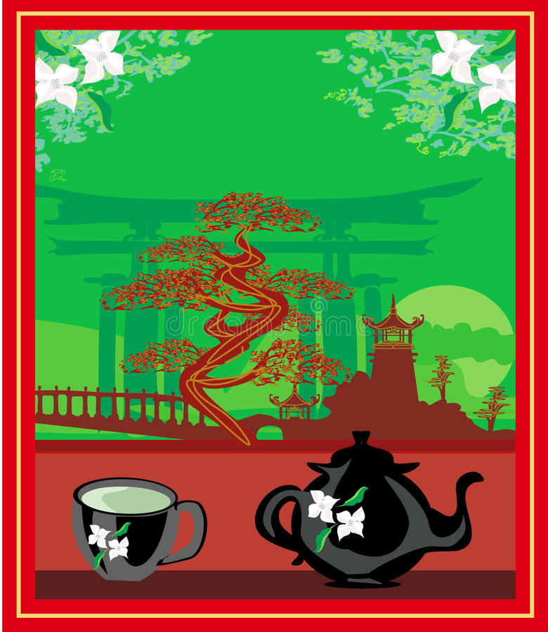 Banner with a kettle, the scenery and the Chinese character Tea stock illustration