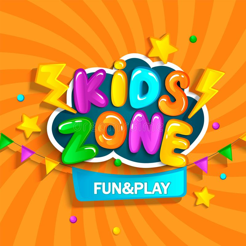 Banner for kids zone. vector illustration
