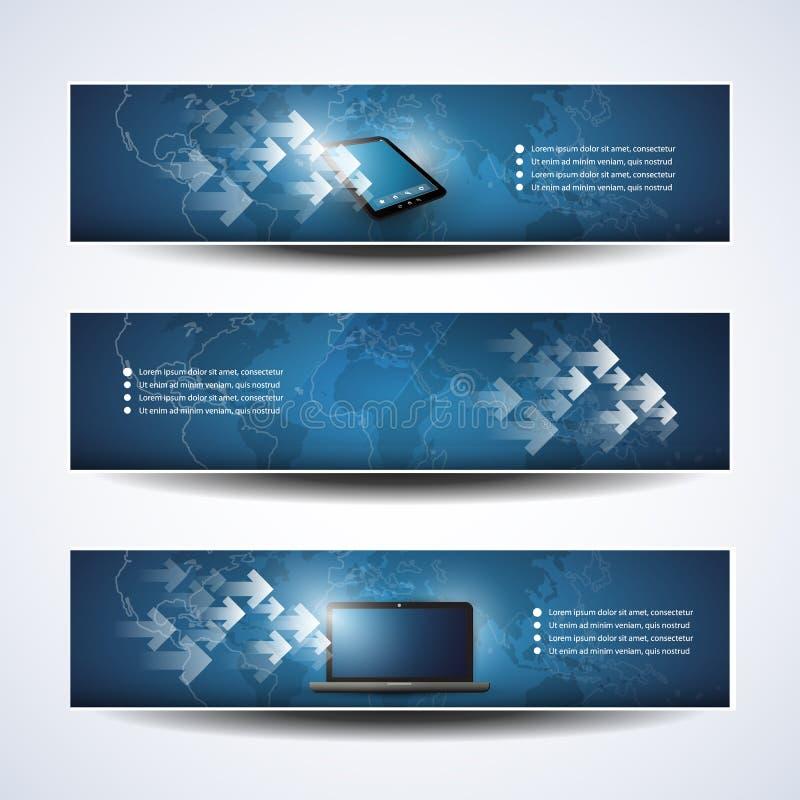 Banner of Kopbalontwerpen, Wolk die, Netwerk gegevens verwerken vector illustratie