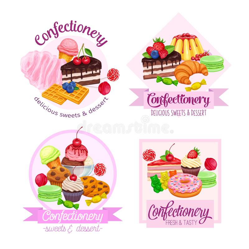 Banner or label with confectionery and sweets stock photography
