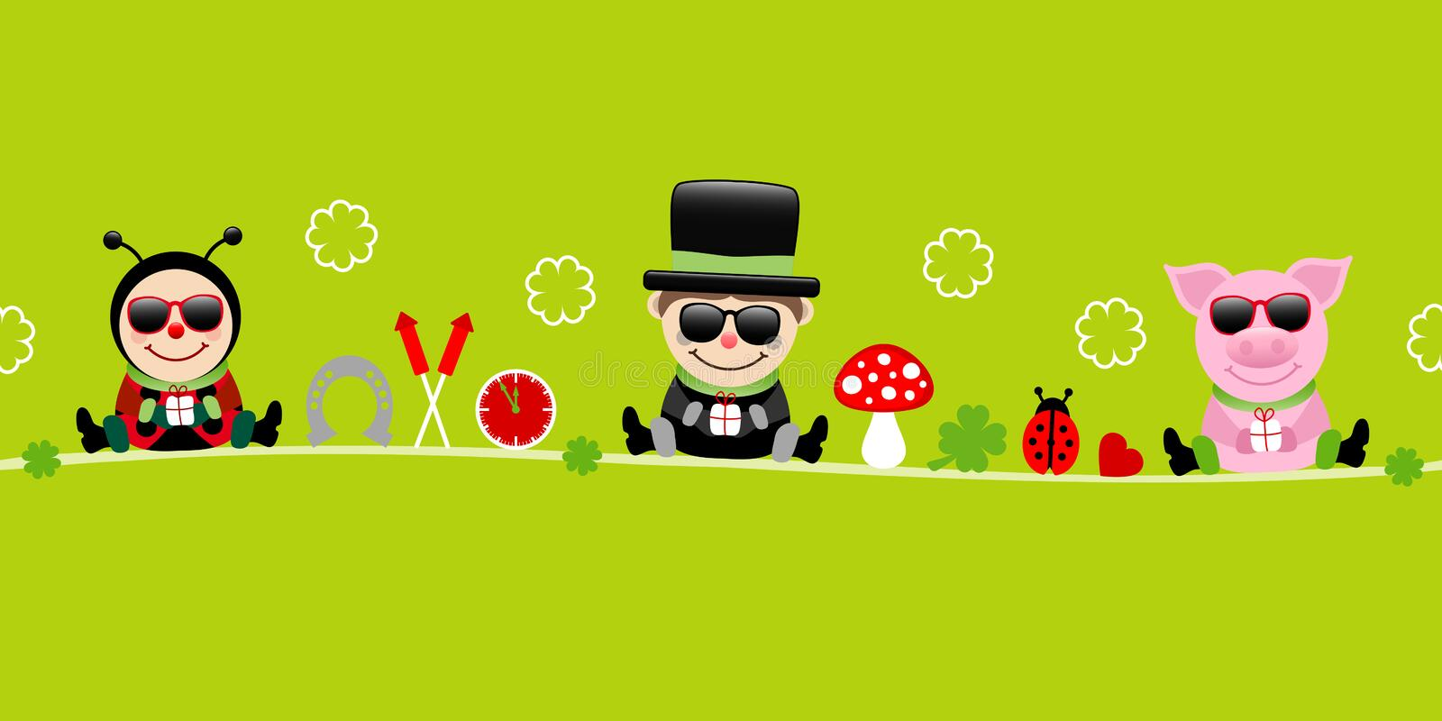 Banner Ladybug Chimney Sweep And Pig With Sunglasses Icons New Years Eve Green 向量例证