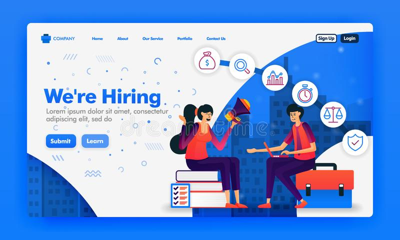 Banner or landing page to recruit employees or we`re hiring design concepts. Cartoon illustration of job seeker interview. Can us royalty free illustration