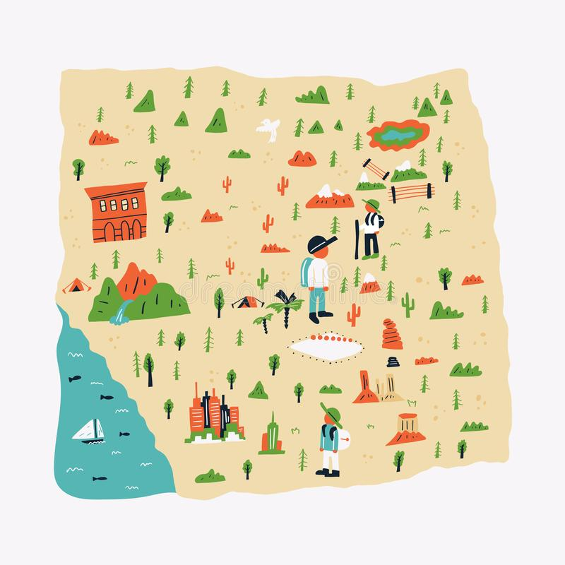 Banner landmark map plants on light background. Without local names and large buildings with landmarks. conditionally with help drawings shows landmark where stock illustration