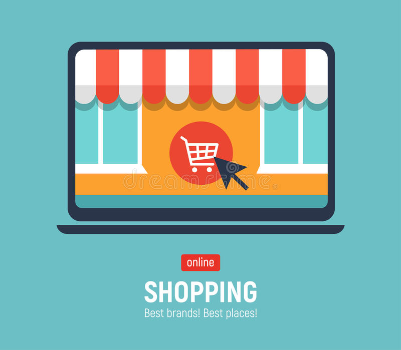 Banner with laptop. Page with online store open on laptop screen. Concept online shopping.  vector illustration