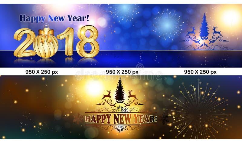 banner 2 leaderboard voor het Nieuwjaar 2018 wordt geplaatst die royalty-vrije illustratie