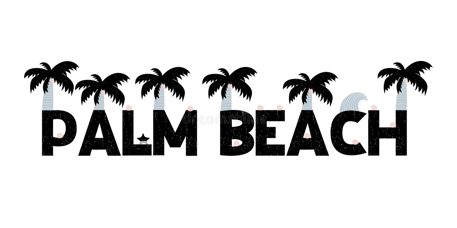 Banner with lettering palm beach in scandinavian style. Vector illustration stock illustration