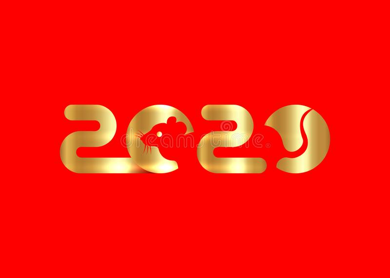 Banner Logo 2020 happy new year, Christmas. Gold Vector flat illustration with a silhouette image of a mouse. The rat china icon stock illustration
