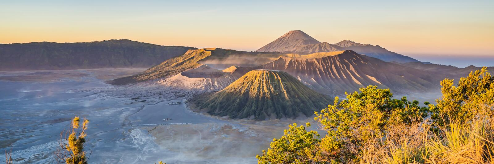 BANNER, LONG FORMAT Sunrise at the Bromo Tengger Semeru National Park on the Java Island, Indonesia. View on the Bromo. Or Gunung Bromo on Indonesian, Semeru stock photo