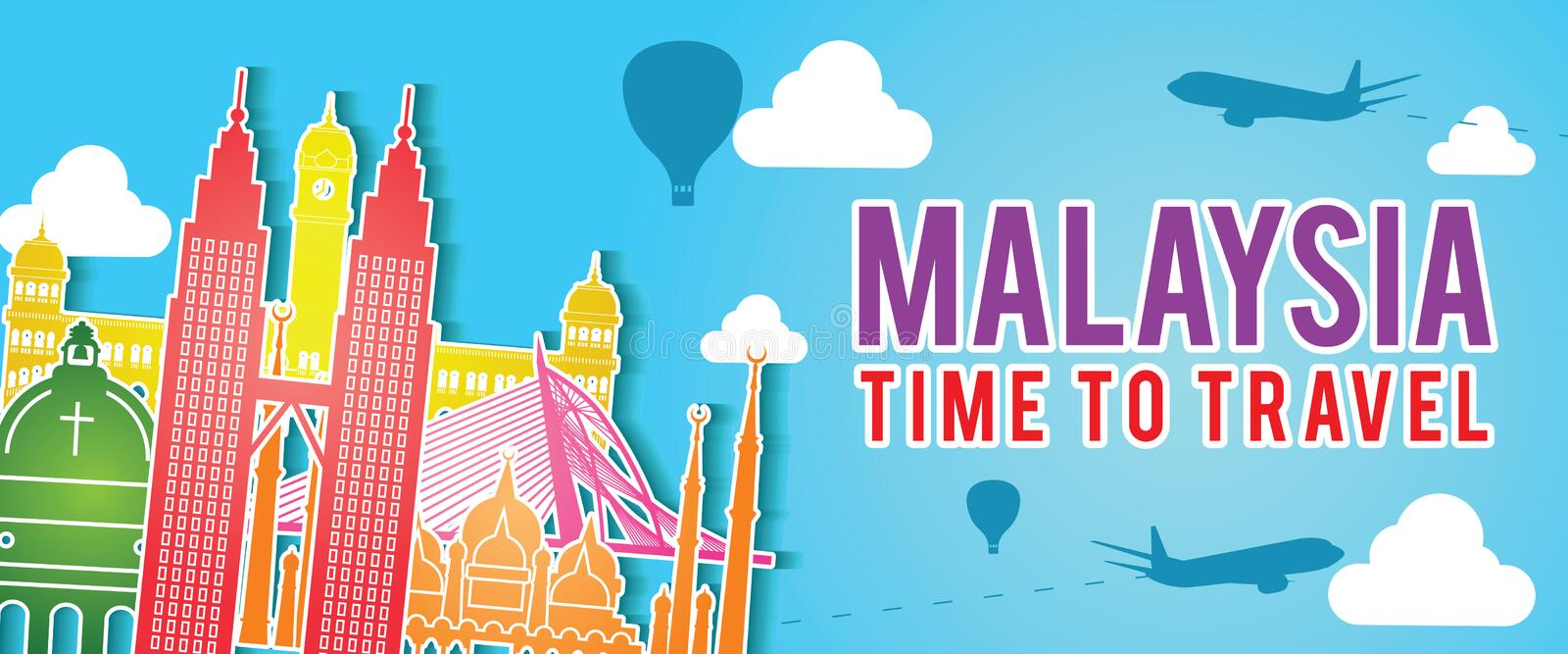 Banner of Malaysia famous landmark silhouette colorful style,plane and balloon fly around with cloud royalty free illustration