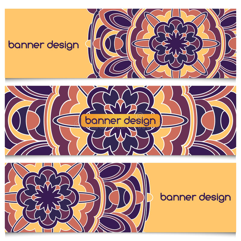 Banner With Mandala. Abstract geometric header vector background with mandala. Set of vector banners with abstract geometric colored shapes. Ethnic pattern cards vector illustration
