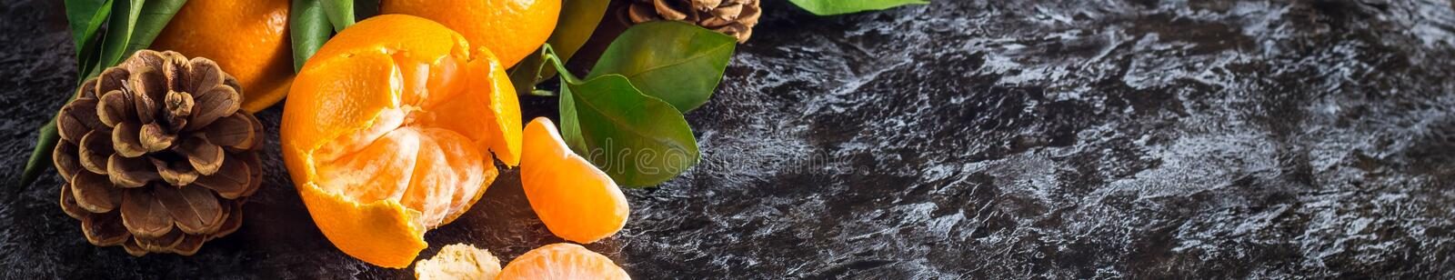 Banner of orange tangerines with green leaves on dark background with copy space. Peeled mandarin slices and cones stock photos