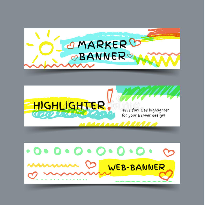 Banner with marker strokes. Marker spots banner. Set of three vector web banners with highlighter strokes and elements royalty free illustration