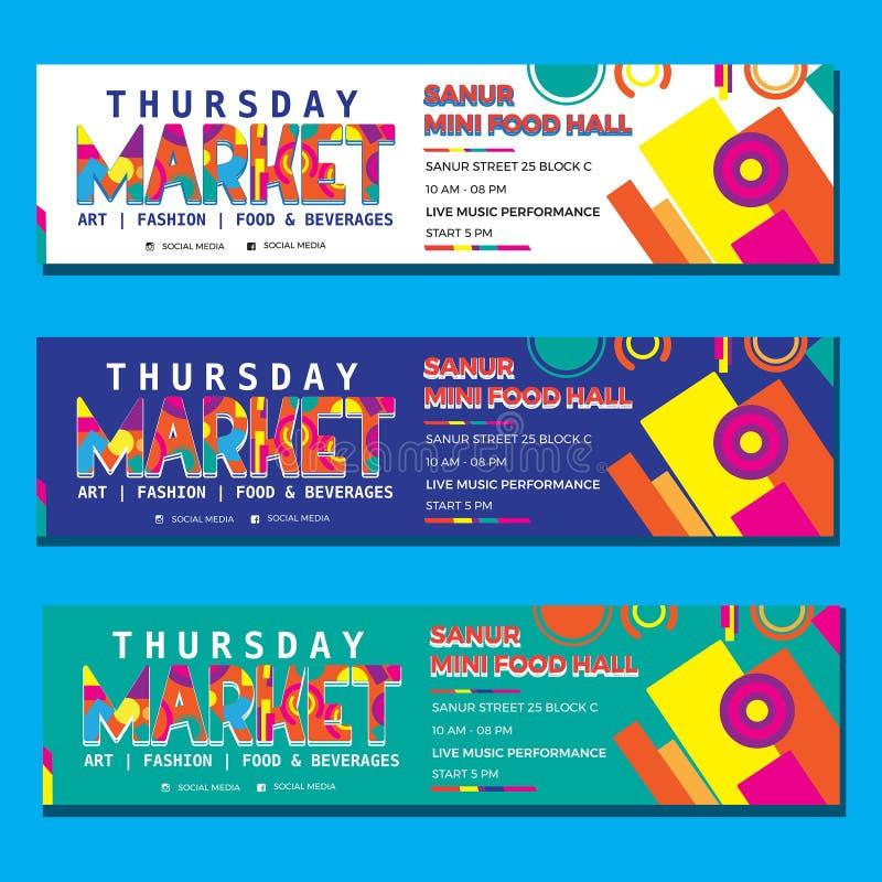 Banner memphis full colour templates vector design pack. With fun concept stock photos