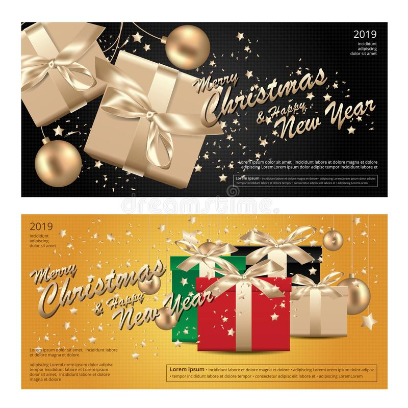 2 Banner Merry Christmas & Happy New Year Template background stock illustration