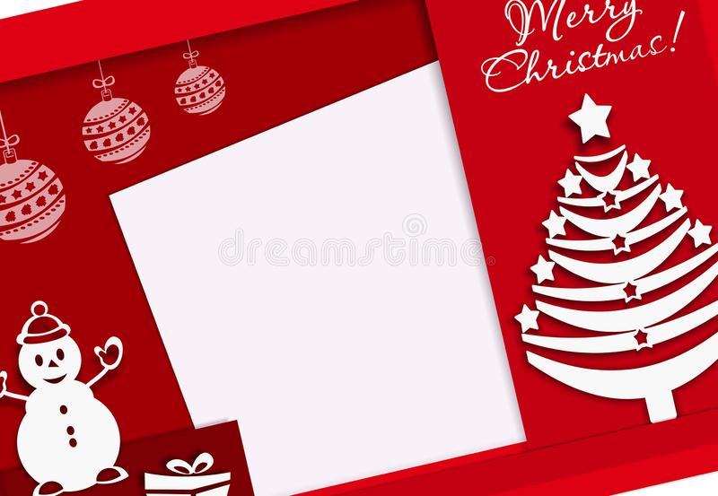 Banner Merry Xmas with snowman and new year tree, paper cut style, red, banner, red, colorful, vector illustration