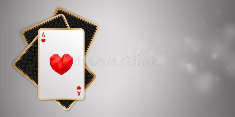 Banner met één hartaas in vier speelkaarten royalty-vrije illustratie