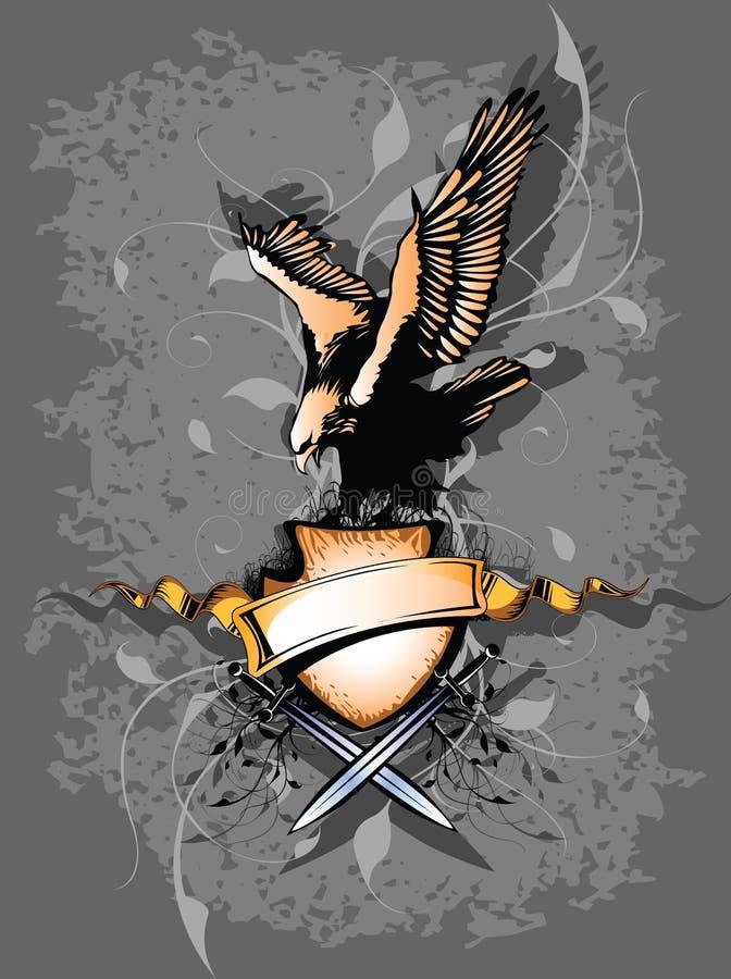 Banner met adelaar en swor twee vector illustratie