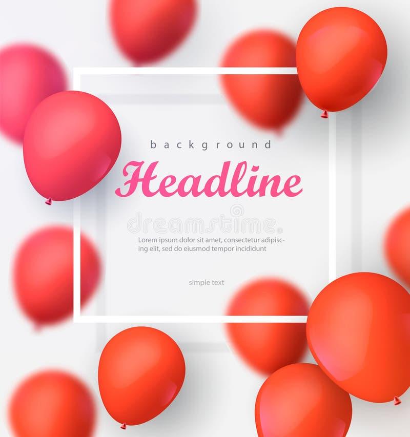 Banner met ballons op de witte achtergrond EPS 10 vectordossier Illustratie royalty-vrije illustratie