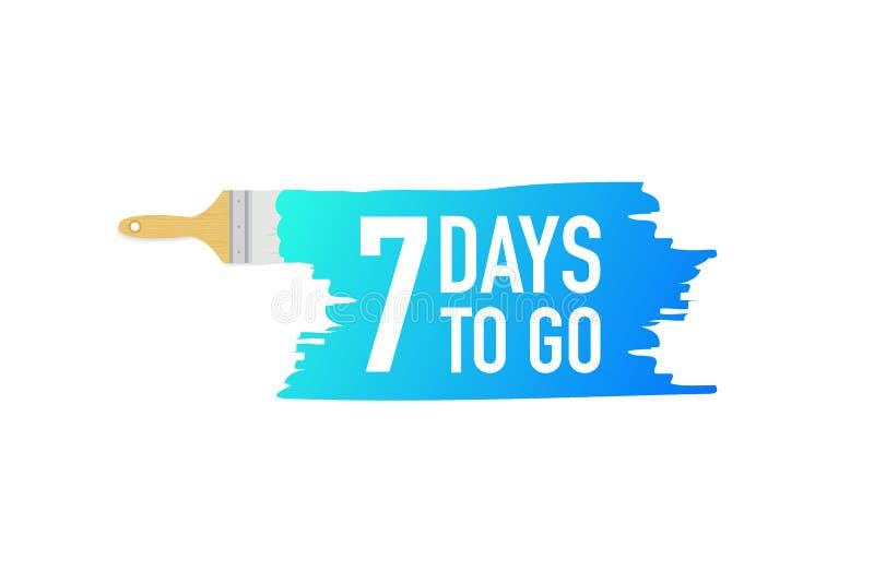 Banner met borstels, verven - 7 dagen om te gaan Vector illustratie vector illustratie