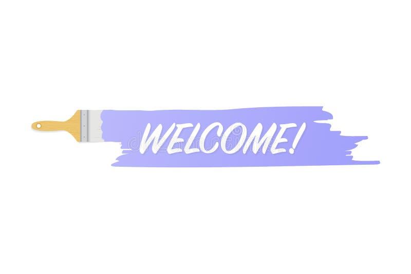 Banner met borstels, verven - Onthaal! Vectorillustratie stock illustratie